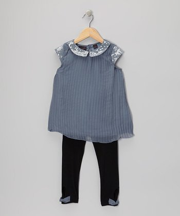 Gray Collared Polka Dot Tunic & Leggings - Girls