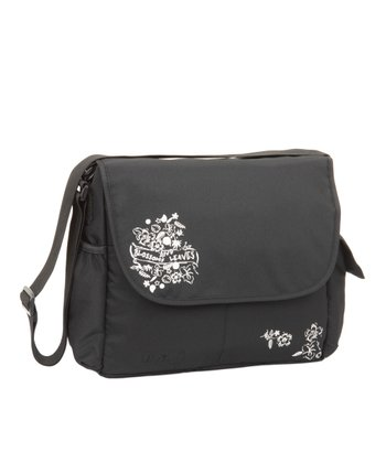 Black Marv Leaves & Blossom Messenger Diaper Bag
