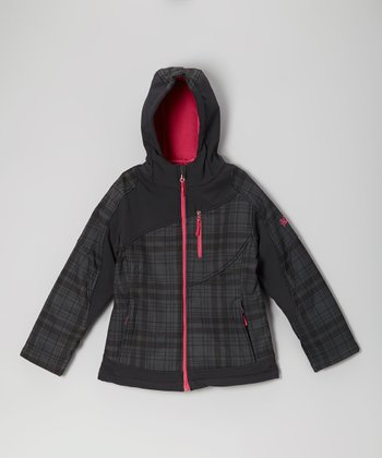 Black & Pink Plaid Soft Shell Jacket - Girls