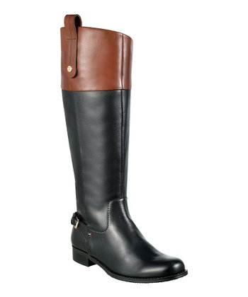 Black & Dark Cognac Leather Hamden Boot