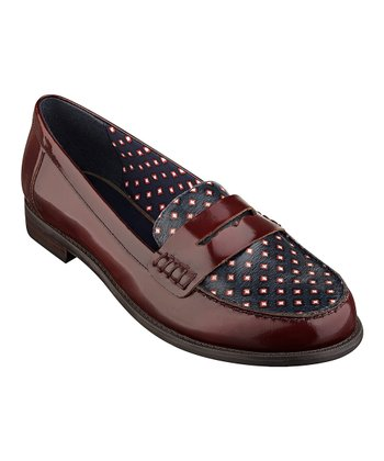 Beetroot & Black Leather Ramona Loafer