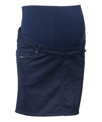 Navy Yukon Over-Belly Maternity Skirt