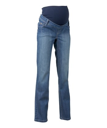 Stone Wash Atlanta Straight-Leg Maternity Jeans