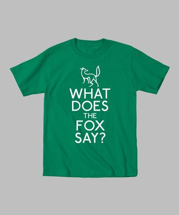 Kelly Green Stacked 'What Does the Fox Say?' Tee - Boys