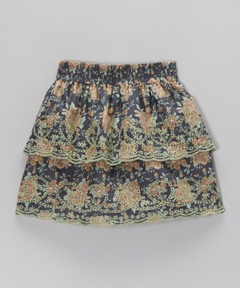 Mint & Blue Floral Tiered Skirt - Toddler & Girls