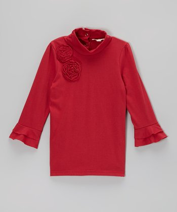 Red Ruffle Rose Turtleneck - Toddler & Girls