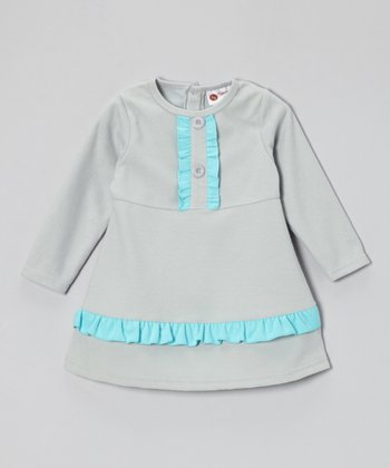 Gray & Aqua Fleece Ruffle Dress - Infant & Girls