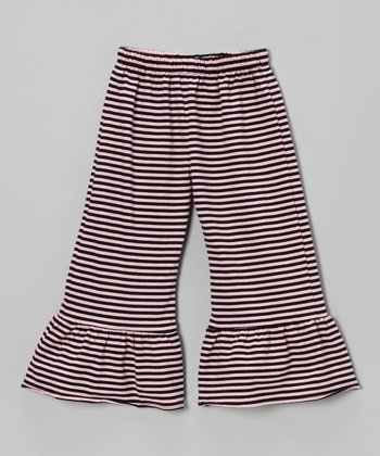 Pink & Black Stripe Ruffle Pants - Infant, Toddler & Girls