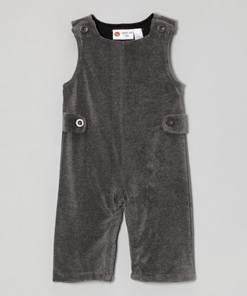 Gray Velour Overalls - Infant & Toddler