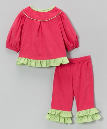 Pink Corduroy Ruffle Top & Pants - Infant, Toddler & Girls