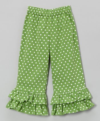 Green & White Corduroy Ruffle Pants - Infant, Toddler & Girl