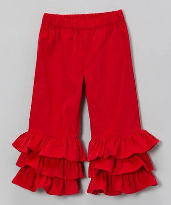 Red Corduroy Triple-Ruffle Pants - Infant, Toddler & Girls