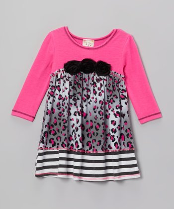 Gray & Fuchsia Leopard Flower Dress - Girls