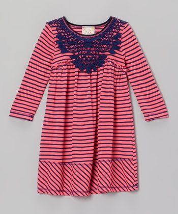 Pink & Navy Stripe Lace Dress - Girls