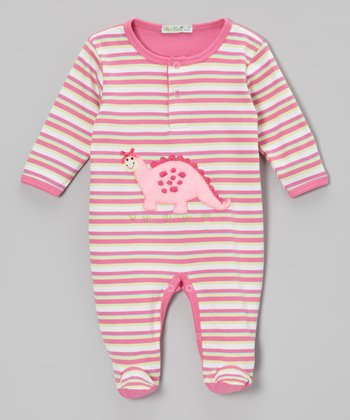 Pink Stripe Dino Footie - Infant