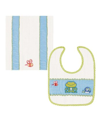 Blue Frog Bib & Burp Cloth