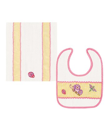 Pink Butterfly Bib & Burp Cloth