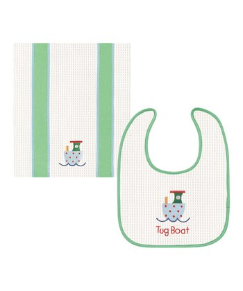 Tug Boat Bib & Burp Cloth