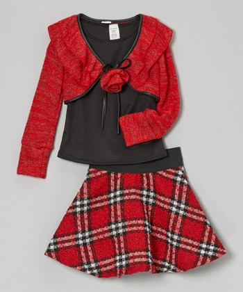 Red Plaid Skirt Set - Girls