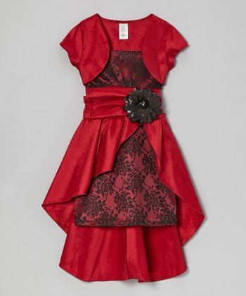Red Lace Layered Dress & Shrug - Girls