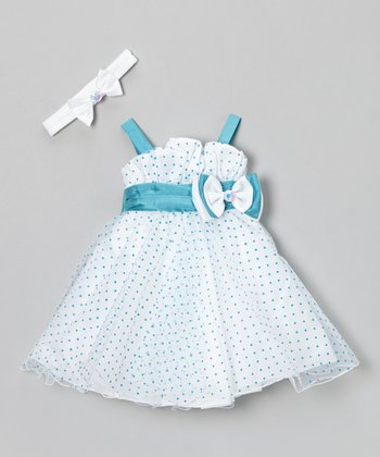 White & Turquoise Polka Dot Dress & Headband - Infant & Toddler