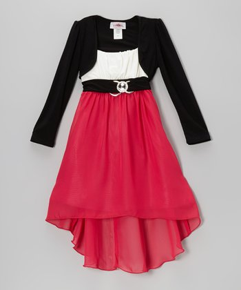 Fuchsia & Black Hi-Low Dress Set  - Toddler & Girls