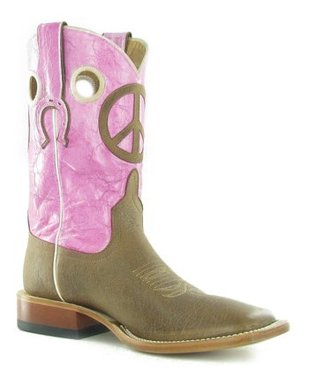 Pink & Brown Peace Sign Boot