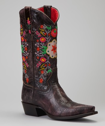 Chocolate Floral Nice Boot - Women