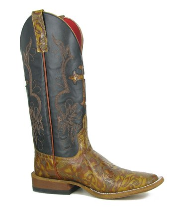 Tan & Black Cross Inlay Boot - Women