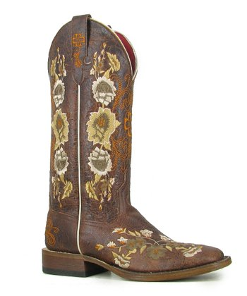 Chocolate Rose Garden Square-Toe Boot - Women