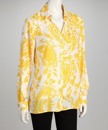 Hanna & Gracie Yellow & White Abstract Button-Up