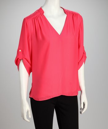 Hanna & Gracie Pink V-Neck Top