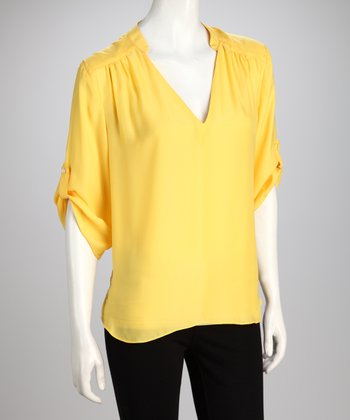 Hanna & Gracie Yellow V-Neck Top