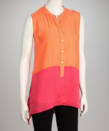 Hanna & Gracie Orange & Pink Color Block Sleeveless Tunic