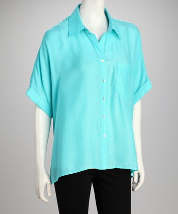 Hanna & Gracie Turquoise Short-Sleeve Button-Up