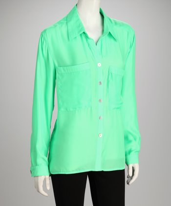 Hanna & Gracie Green Button-Up