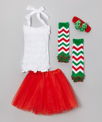 Red & Green Tutu & Polka Dot Bow Set - Toddler