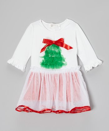 White & Red Yuletide Top & Tutu - Toddler