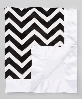 Black Zigzag & White Velour Stroller Blanket