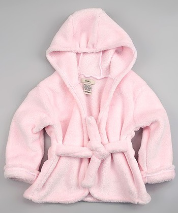 Pink Lightweight Velour Hooded Robe - Infant & Toddler
