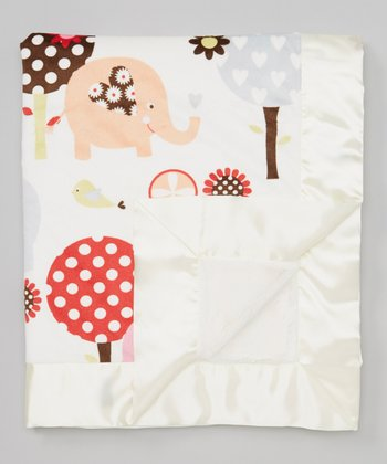 Cream Tree & Elephant Stroller Blanket