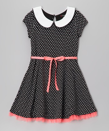 Black & White Polka Dot Peter Pan Collar Dress - Girls