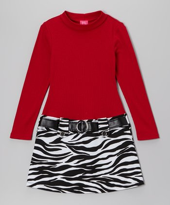 Red & Black Zebra Skirt Marsha Dress - Girls