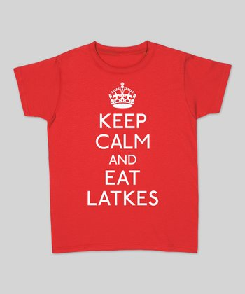 Red 'Keep Calm And Eat Latkes' Tee - Women