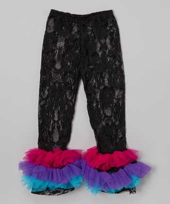 Black & Purple Lace Ruffle Leggings - Infant, Toddler & Girls
