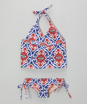 Blue & Red Ikat Avery Tankini - Girls