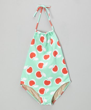 Mint Apple Pickin' Carter Halter One-Piece - Girls