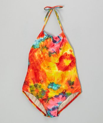 Red & Yellow Tie-Dye Carter Halter One-Piece - Girls