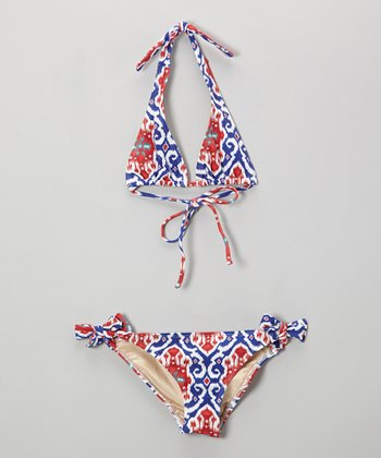 Blue & Red Ikat Mack Bikini - Girls