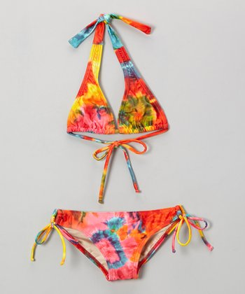 Red & Yellow Tie-Dye Mack B Bikini - Girls